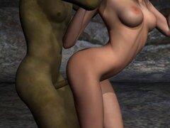 Pelirroja de dibujos animados 3D Foxy es follada por un duende. Chica de colegiala pelirroja hermosa historieta 3D tener algunos sexo duro con un cachondo goblin