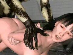 Chica animada en 3D ser golpeado por extraterrestres. Clip 3D sobre extraterrestres se apoderó de la chica anime 3d y tener sexo hardcore con ella en una nave espacial