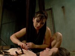 Submissive lesbian anal lezdom fucked. Brunette lezdom in lingerie Lea Lexis hard whips and paddles ass to tied brunette slave Freya French then anal fucks with strap on cock with pain